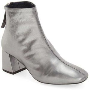 Topshop Maggie Silver Leather Ankle Boot 6.5